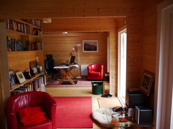log cabin garden office interior