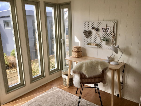 garden office interior Scandi style